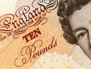 Ten pound note and bank account